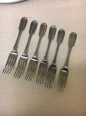 Antique Set Of 6 Solid Silver Forks Early Victorian 279g Nice Quality