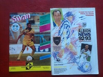 2 x 92/93 DIV 2 PLAY OF PROGRAMMES  SWANSEA V WEST BROM HOME/AWAY.