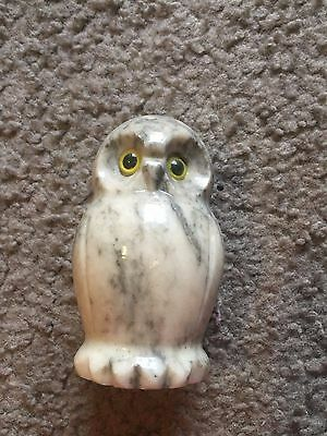 """Gimbels Italy collectible heavy Italian Marble Owl figure statue Vintage 3 1/2"""""""