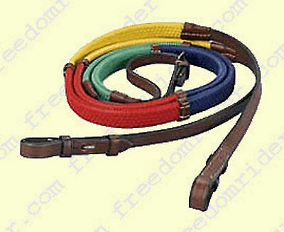 "SHIPS FREE NEW Kincade Rainbow Reins-Bright Colors - Pony Length - 1/2"" wide"