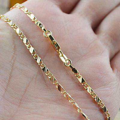 Men Women Exquisite Jewelry 18K Yellow Gold Filled 16-30 Inches Chain Necklace