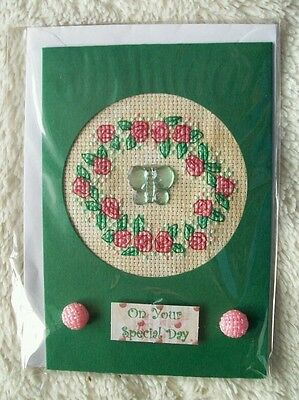 Completed cross stitch card - rose wreath