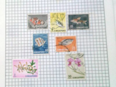 SINGAPORE -   VARIETY OF STAMPS (FISH & FLOWERS) - pre 1975