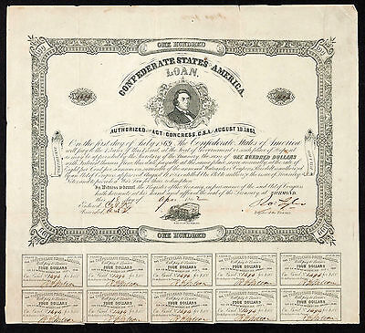 Confederate States of America Act of AUG 19 1861 Coupon Bonds $100 Ball 73 CR 33
