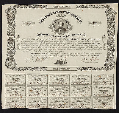 Confederate States of America Act of AUG 19 1861 Coupon Bonds $100 Ball 54 CR 29