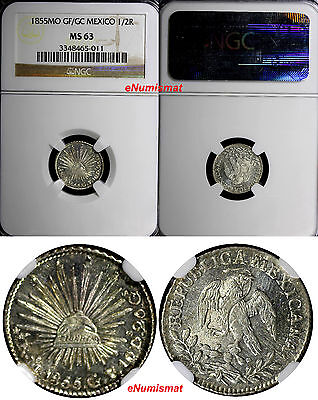 Mexico Republic Silver 1855 Mo GF/GC 1/2 Real NGC MS63 Better Date KM# 370.9