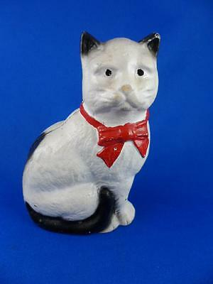 "Cast Iron CAT Still BANK-Paperweight-White Black Tips Red Bow-4.5"" High-Vintage"