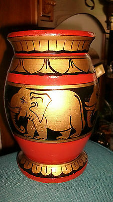"""wooden brown/gold/black painted elephant vase size 7"""" tall and 4"""" wide"""