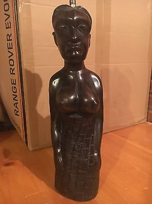Antique Hand Carved Wood African Figure Lamp Conversion Mother And Child