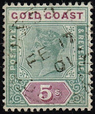 Gold Coast 1900 5s. green & mauve, used (SG#33)