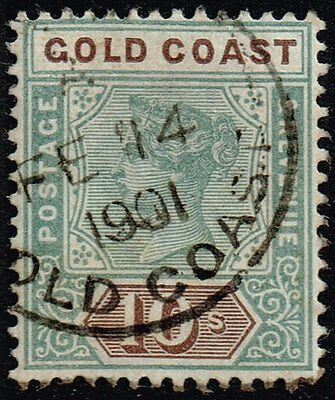 Gold Coast 1900 10s. green & brown, used (SG#34)