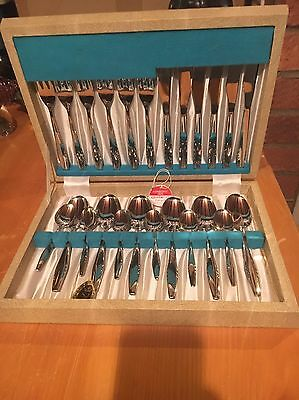 Vintage Grasmere Cutlery Set Ashberry New Old Stock Mid Century 24 Piece Boxed