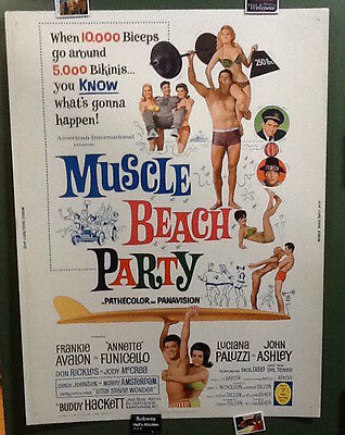 ~1964 MUSCLE BEACH PARTY Original 30x40 Poster Frankie Avalon Annette Funicello