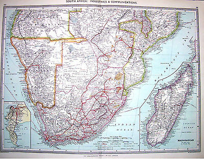 SOUTH AFRICA  INDUSTRIES - COMMUNICATIONS  - Original 1895 Antique Map