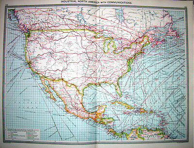 NORTH AMERICA INDUSTRY COMMUNICATION - Original 1895 Antique Victorian Map