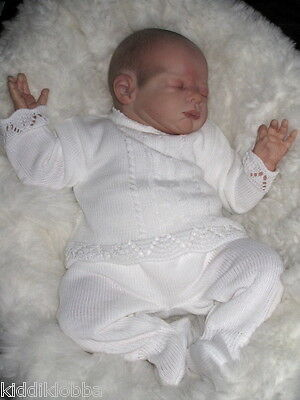 Bnwt~Darling Baby Girls Designer Fine Knit 2Pce Outfit In White -Newborn/reborn