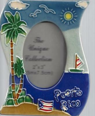 NEW PUERTO RICO SOUVENIR PORCELAIN PICTURE FRAME 4 x 5 Inches *PALM TREE *BEACH