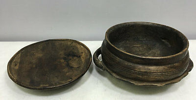 African Zambia Food Bowl Lid Hand Carved Wood Ornament East Africa Lozi