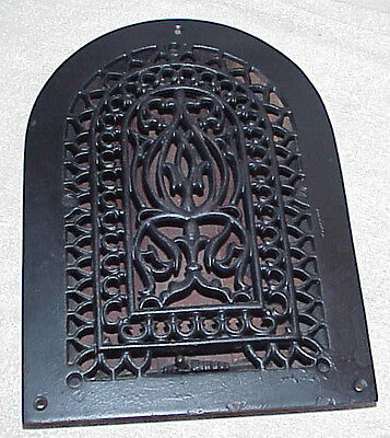 Ornate gothic cast iron heating damper Grate Vent cover Victorian 10 x 13