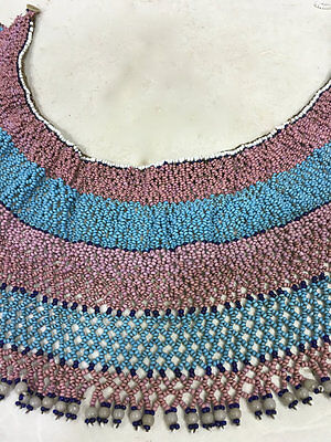 African Xhosa South Beaded Pink Blue Collar Women Purity Power Mother of Pearl