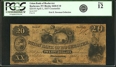 1857 $20 Obsolete Contemporary Counterfeit UNION BANK ROCHESTER HAXBY 2420-C10