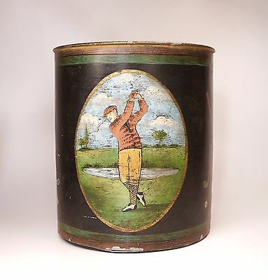 "Vtg Hand Painted Toleware Waste Basket Trash Can Golf Theme 12"" Shabbily Chic"