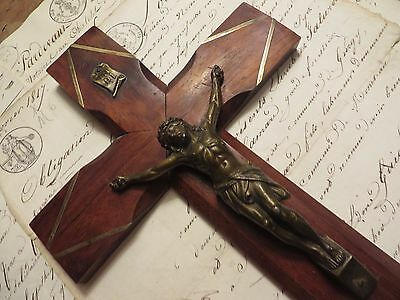 BEAUTIFUL VINTAGE FRENCH CRUCIFIX / CROSS ~1930's ~ WITH BRASS INLAY