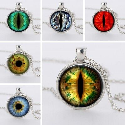 Dragon Eye Chain Pendant Necklace Cat Fantasy Steampunk Punk Gothic Glass UK