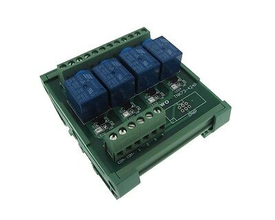 4 Channel 24VDC Relay Board PLC DIN Rail Mounting NPN