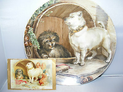 "Rare Large 10"" Minton Handpainted Dog Plate After Landseer - Excellent Condition"