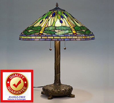 Tiffany Style Stained Cut Glass Green Dragonfly Table Lamp Yellow / Green / Blue