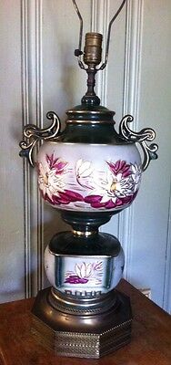 Antique Asian Hand Painted Lotus Flowers Porcelain Urn Lamp Brass Base