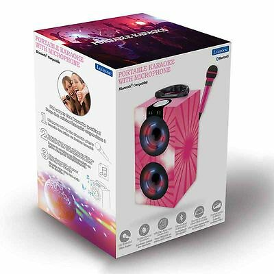 Portable Karaoke Machine with Microphone in Pink - Bluetooth, AUX, USB, SD