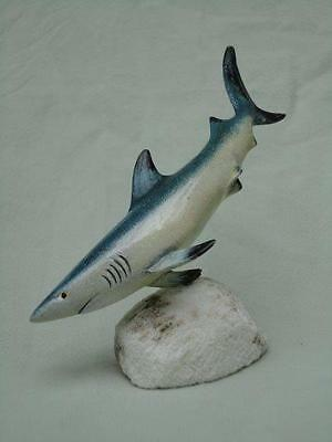 Shark Figure Small Blue Plastic Handpainted Varnish Finish Mounted Collectable