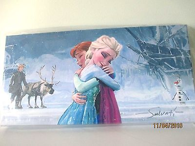 "Disney's Frozen""s ""the Warmth Of Love"" Giclee On Canvas Jim Salvati Limit Ed Coa"