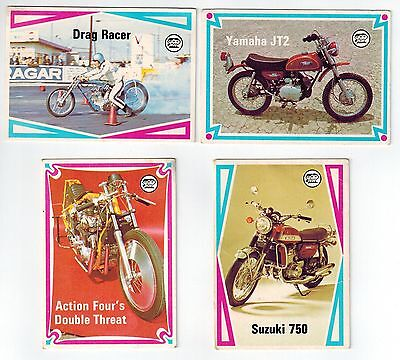 Scanlens - Choppers and Hot Bikes (1974) - 4 collector cards