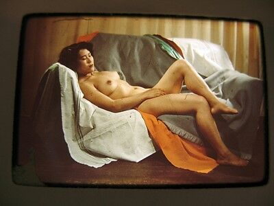 Vintage 35mm Color Slide  Nude Woman on Couch  Japan