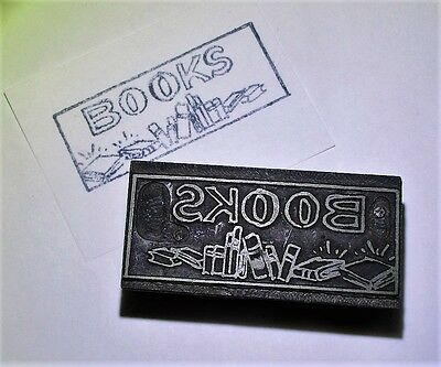 Vintage BOOKS Metal on Wood Letterpress Printing Block