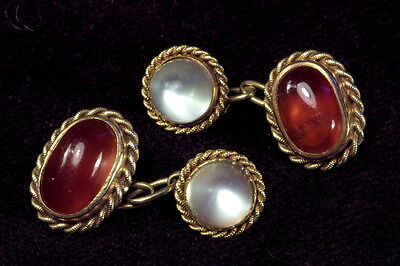 ANTIQUE ENGLISH 15K GOLD NATURAL CARNELIAN MOONSTONE CABOCHON CUFFLINKS c1890