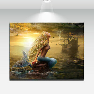 Wall Art Print on Canvas Home Decor The Little Mermaid Oil Painting NO FRAMED