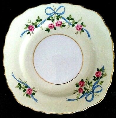 Colclough C7 Bone China Blue Bows Dark Pink Roses Bread Butter Plate England