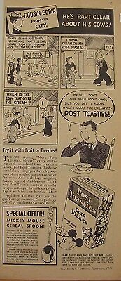 1935 Post Toasties Cereal Ad Mickey Mouse Spoon & Cut-Outs Cousin Eddie Comic