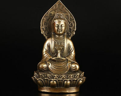 CHINESE COLLECTION OLD HANDMADE CASTING BRASS BUDDHIST GUANYIN STATUE #a