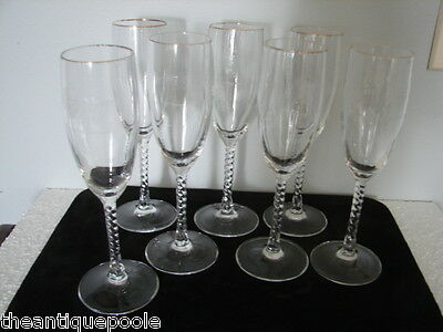 7 Wine Champagne Flutes Goblets etched 100th Anniversary Knights of Columbus