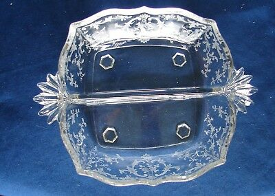 1930's Vintage Elegant Glass Fostoria Navarre Etched 2-part Baroque Relish Dish