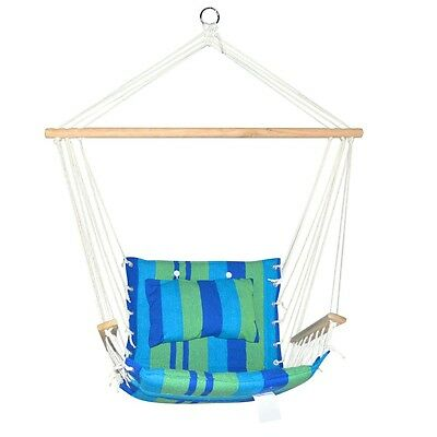 NEW Durable Indoor Outdoor Hammock Swing Chair Blue Green with Timber Armrest