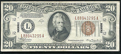 "Fr. 2305 1934-A $20 ""Hawaii"" Frn Federal Reserve Note Very Fine+"
