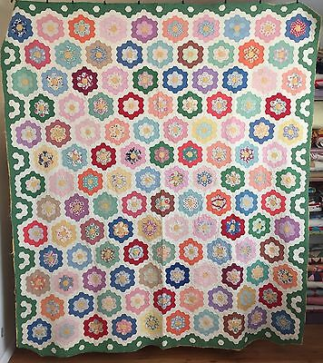 Large Vintage Flower Garden Quilt, a wide variety of prints, flour / feedsack