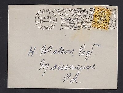 Canada 1897 MONTREAL VICTORIA DIAMOND JUBILEE FLAG Cancel Cover Front #4-2