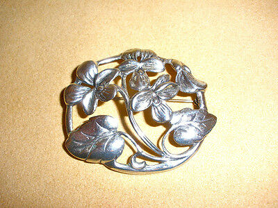 Beautiful Sterling Pin by Danecraft in Pansies or Lady Slippers